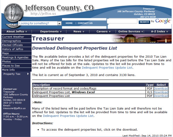 Property tax sale listing online for a tax lien sale