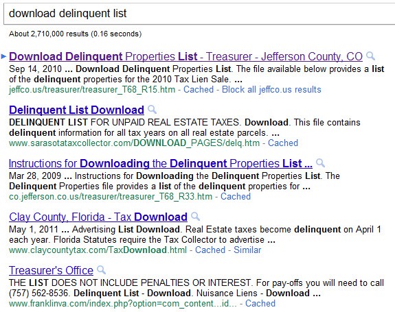 Property tax sale search on Google
